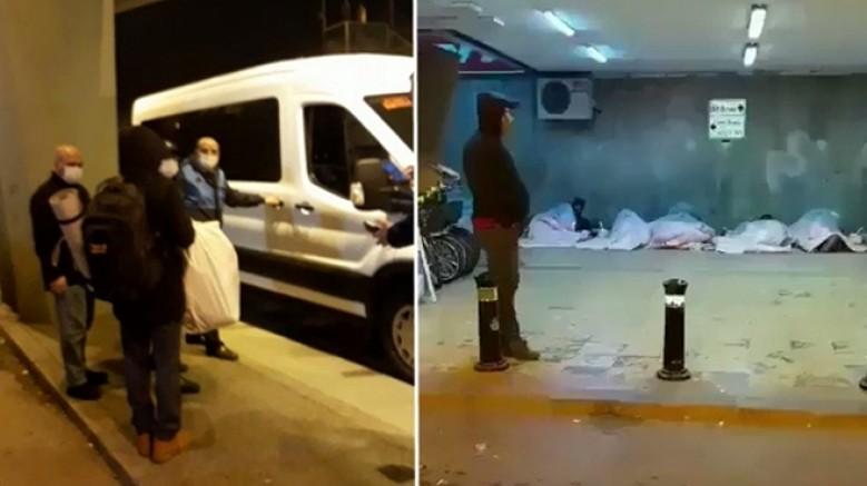 İBB: Evsizler, zabıta eşliğinde otele yerleştirildi