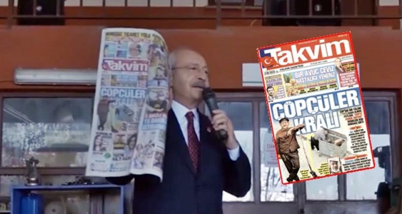 Kılıçdaroğlu'ndan Takvim'in manşetine yanıt: Çöpçülerin kralı değilim, yoldaşıyım